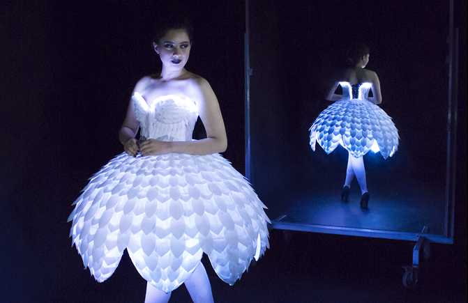 EsterHero-e1475633949147 This Tech Dress Will Make You a Paper Doll #WearableWednesday #Wearabletech #Arduino « Adafruit Industries – Makers, hackers, artists, designers and engineers!